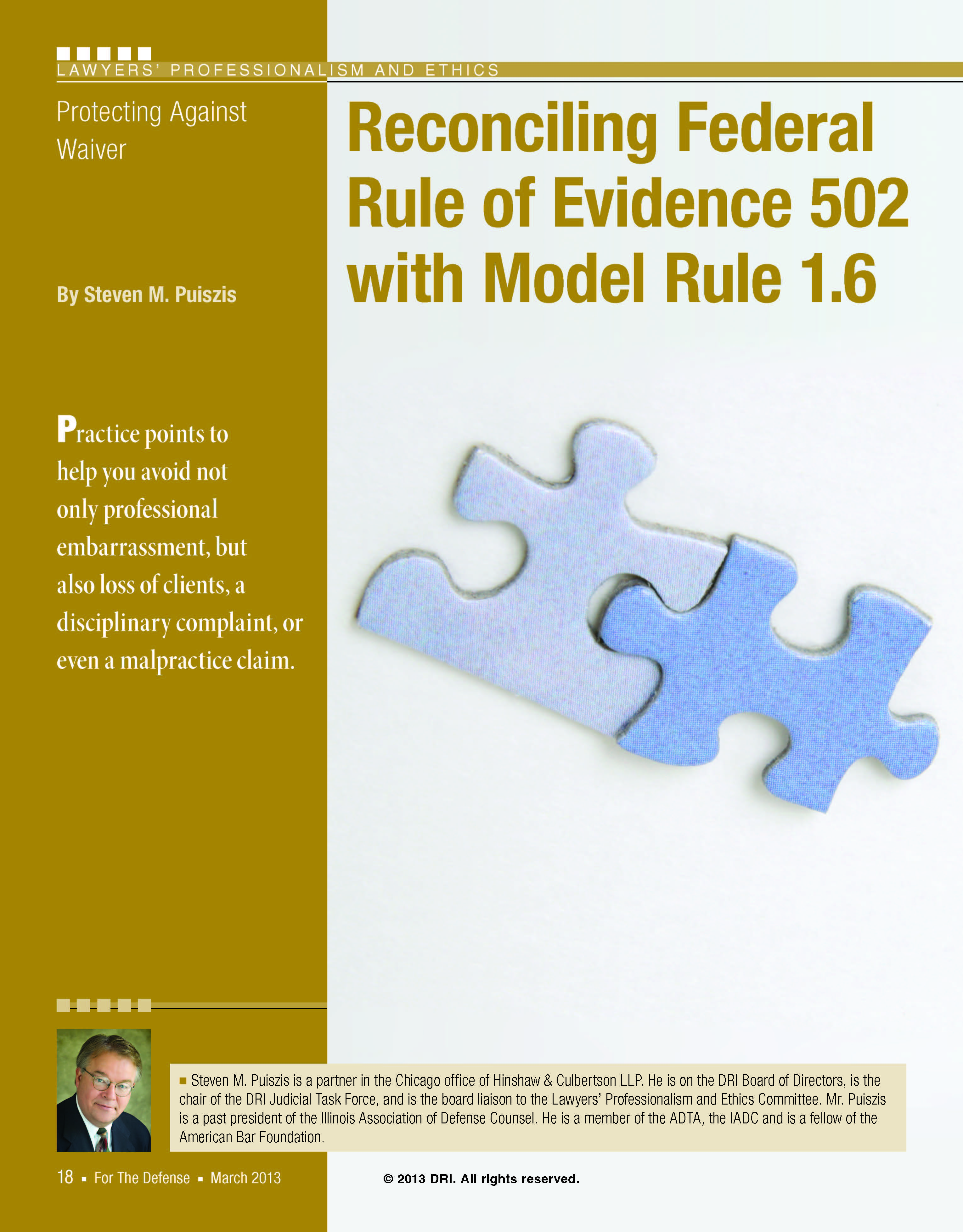 Excellent Dri Article On Duty Of Confidentialty And Fre 502 Waiver